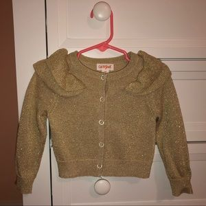 5/$25 Champagne gold glittery cardigan 12 months